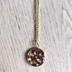 Large Gold Pendant Necklace with real flowers (Peony)