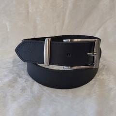 Genuine Leather Belt, Black Full Grain Cowhide, 33mm Wide, Handmade in Australia