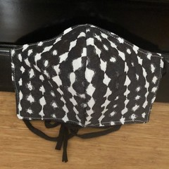3 Layered Waterproof lined Mask - Black White dots (ready to ship)