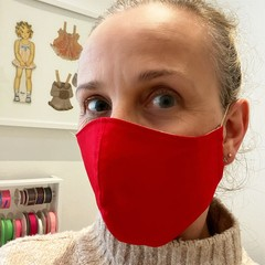 Cotton Face Mask ~  Plain Red ~ 3 layers