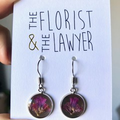 Silver Hanging Earrings with real flowers (Statice)