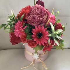 Burgundy,Rasberry Faux Flower Centrepiece