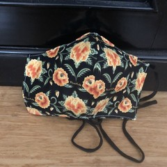 3 Layered Waterproof lined Mask - Frida Kahlo Floral (ready to ship)