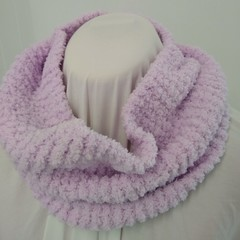 Hand Knitted Continuous Scarf - Lavender