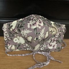 3 Layered Waterproof lined Mask - Mauve Wildlife (ready to ship)