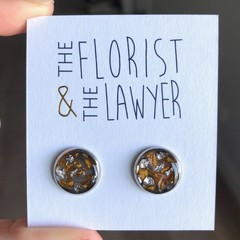 Silver Stainless Steel Stud Earrings with real flowers (Rose petals)