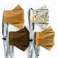 Linen & Organic Cotton Face Mask in Mustard