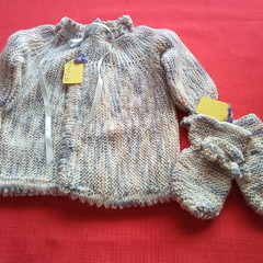 Matinee jacket and mittens