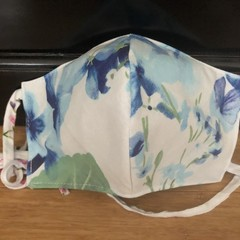 3 Layered Waterproof lined Mask - Blue Floral (ready to ship)