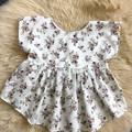 BURGANDY FLOWERS PEPLUM TOP, sz 1  (suit 12 - 18 month old)
