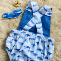 WHALE SUMMER ROMPER, Size 000, 00 and 0 available