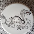 Hand painted Royal Doulton plate featuring a dragon