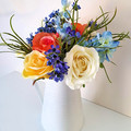Colourful Silk Rose  Arrangement in White Jug - Artificial Flowers