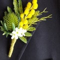 Buttonhole for Groom Groomsman - Green Thistle with Australian Natives