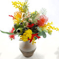 Colourful Artificial Native Flower Arrangement  in Rustic Vase
