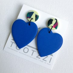 """All Heart"" Double Drop Dangle Studs - Cobalt Blue + Vanilla Swirl"