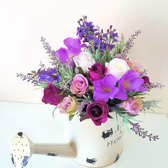 Table Flowers Purple Silk Roses and Lavender Watering Can Flower Arrangement