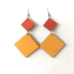 Hand Painted Wooden Yellow and Red Diamond Earrings