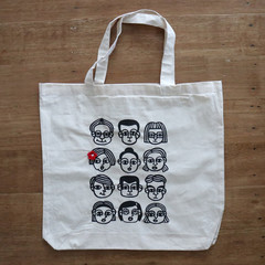 Screen Printed People - Natural Organic Cotton • Eco Reusable Shopping Tote Bag
