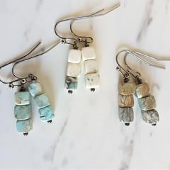 Simple Minimal Modern style cube marble stone drop earrings , White Blue Black