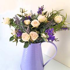 Rustic Lavender & Rose Arrangement in Purple Tin Jug - Artificial Flowers