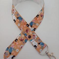 Brown dog print lanyard / ID holder / badge holder