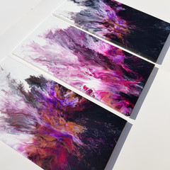 """Purple Rain"" Triptych Trio Set 30.5 x 61cm each (12x24"") Wall Art"
