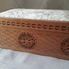 Carved Wooden Box, Lined in Padded White Velveteen Material with Soft Lid