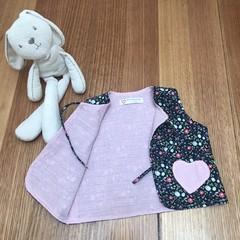 Kid's open vest top waistcoat in pink & floral print