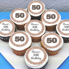 Birthday 50th 30th Edible Icing Cupcake Toppers - PRE-CUT Sheet of 15 - EI239C