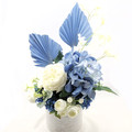 Blue & White Silk Rose Flower Arrangement with Blue Palm Leaves in Ceramic Vase