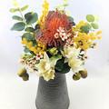 Artificial Australian Native Flowers in Rustic Metal Jug