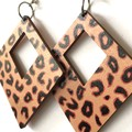 Hand Painted Wooden Black Leopard Print Earrings
