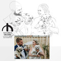 Couples  portrait with pets - Up to 4 pets - line drawing