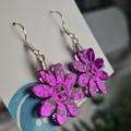 Violet Glitter - Flower Hook Dangle earrings