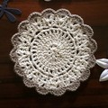 Set of Two Doilies and Eight Coasters in Cream with Mocha Trim
