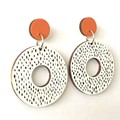 Hand Painted Wooden White, Orange, Black Circle Earrings