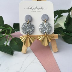 GREY SPECKLED STATEMENT DANGLES