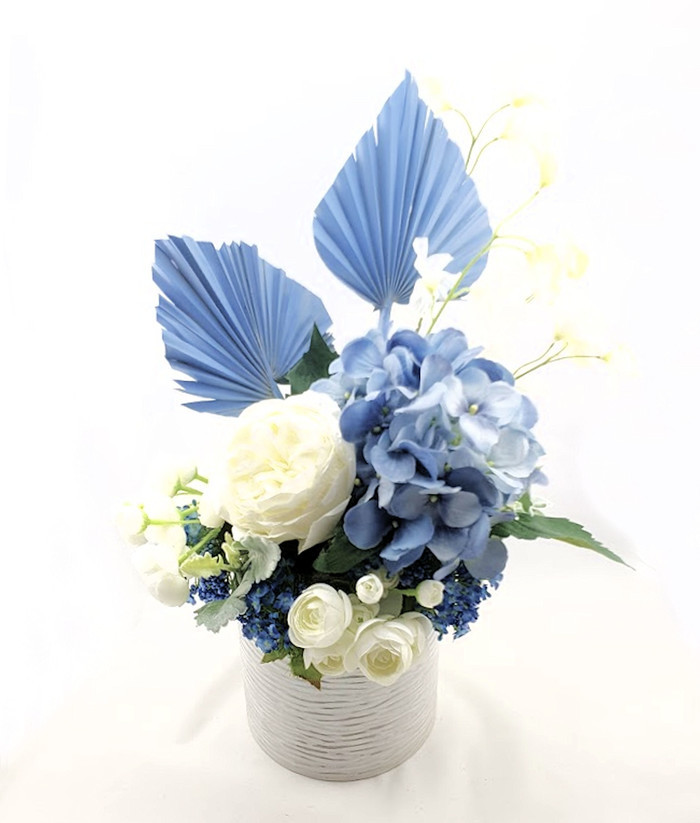 Blue White Silk Rose Flower Arrangement With Blue Palm Leaves In Ceramic Vase Unreal Wedding Flowers On Madeit
