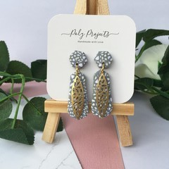 GREY SPECKLED DROP DANGLES