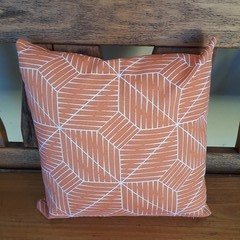 SET OF TWO-ORANGE AND  WHITE GEOMETRIC OUTDOOR CUSHION COVERS-45 CM X 45CM