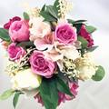 Hot Pink, Ivory Rose Bridal Bouquet -  Artificial Wedding Bouquet