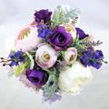 Artificial Flower Wedding Bouquet Purple, Mauve and Ivory Rose & Peony Bouquet