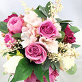 Hot Pink, Ivory Rose Bridal Bouquet -  Artificial Wedding Bouquet