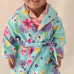 Bedtime set - PJ's and Dressing Gown - Blue Floral