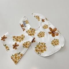Autumn floral bib/bandana set