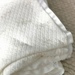 Oversized Soft Quilted baby toddler  blanket with reversable Faux Soft fur