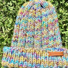 Child size boys or girls beanie rainbow PomPom merino knitted
