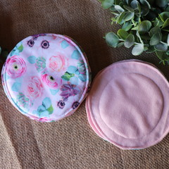 Reusable Breast pads-  Pink Roses