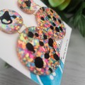 Confetti Spots Circle - Glittering Drop Resin - earrings